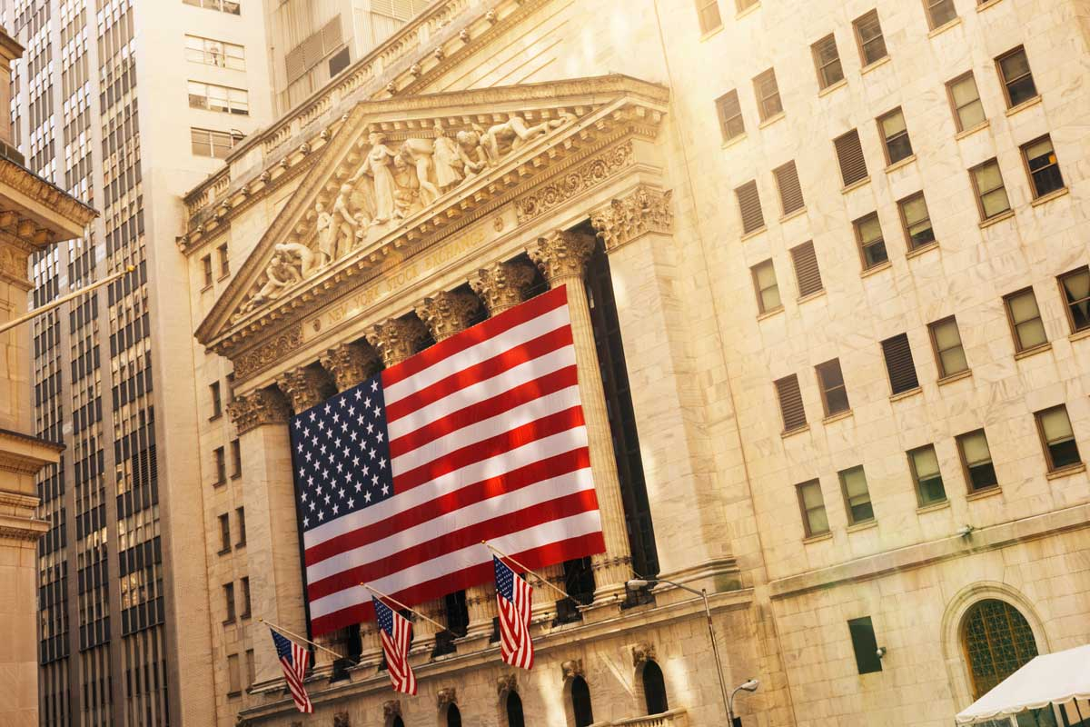 NYSE with flag